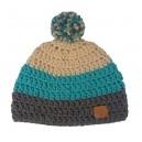Bonnet Gris / Turquoise / Beige avec pompon