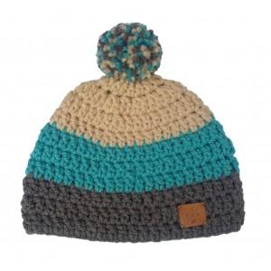 Bonnet POMPON - Gris / Turquoise / Beige