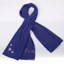 Écharpe bleue en coton, logo rose pâle