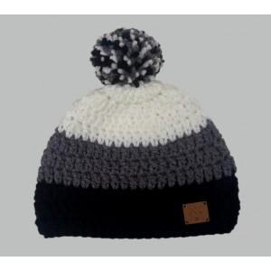 Bonnet POMPON Wns , Noir / Gris / Blanc